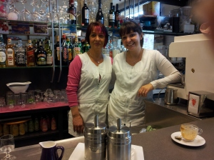 Benedetta and her lovely mama Laura at the Bar/Alimentari in Fiano