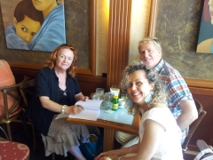 June Finnigan at a book signing in Lucca.