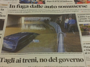 Submerged cars in the underpass at Certaldo