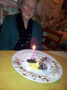 GiGi and her surprise birthday desert at Osteria La Sosta di Pio. Photo J Finnigan
