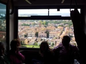 Funiculare ride down to Certaldo Basso