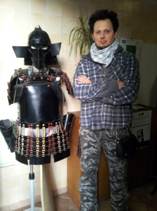 Alessandro and his hand-made Samurai Armour. Photo J Finnigan