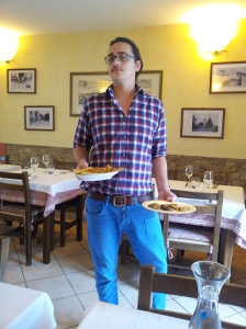 Gianluccas brings our antipasti. Photo J Finnigan
