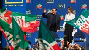 Silvio addresses new young recruits to his party Forza Italia. Photo AP/Mauro Scrobogna, Lapresse.