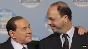 Silvio & Angelino Alfano in happier times. Photo BBC News Europe