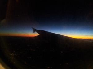 Sunset over Geneva on the mans flight home. Photo P Finnigan