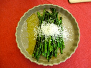 Grilled asparagus with parmesan from recipe book.