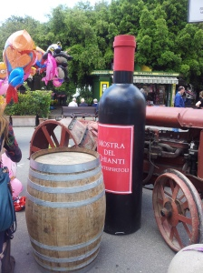 Six foot high bottle of wine at The Wine Fair Photo J Finnigan