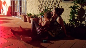The daughter and Grandaughter watch Granny performing. Phot P Finnigan