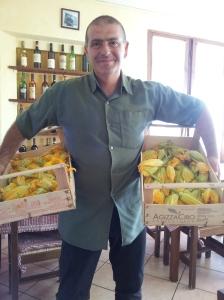 Paolo at C'era una Volta restuarant with fresh Zucchini flowers