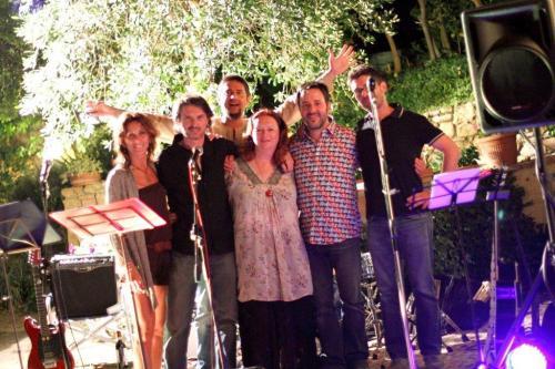 Rock Chick Band Group Hug. Left to right: Paola Micheletti, Stefano Bartalesi, Me, Mario Marmugi, Lorenzo Capelli and behind Lorenzo Capelli. Photo Chiara Benelli