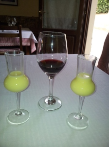 Nearly finished the Chianti and onto the Crema di Limoncello at C'era una Volta Restuarant. Photo J Finnigan