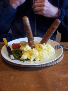 My man's reaction to his vgi sausage and mash! photo J Finnigan