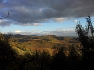 Sunrise casting a golden glow over the Chianti Hills. Photo J Finnigan