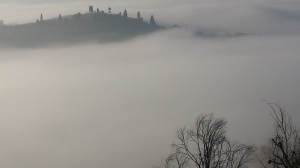Early Christmas Morning, thick fog fills the valley below our villa. Photo P Finnigan