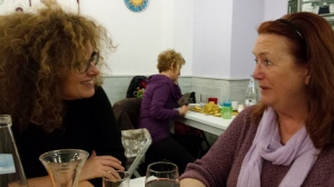 Anna and I enjoying a chat over lunch at La Raccolto in Florence PHoto P Finnigan