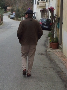 The Man leads the way to Ristorante 'C'era una Volta' wearing his new birthday hat. Photo J Finnigan