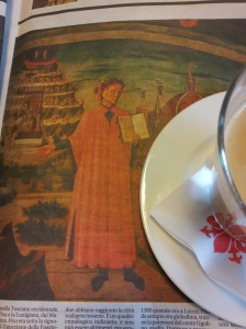 Coffee with Dante. Photo J Finnigan