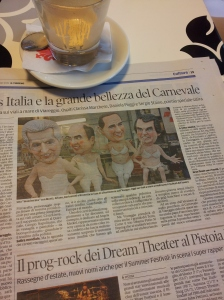 Silvio and friends at Viareggio Carnivale. Il Torreno Newspaper.