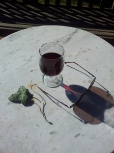 Hot Chianti wine in the sunshine. Photo J Finnigan