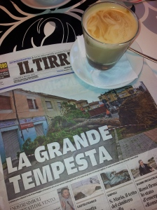 One of many trees blown down during the Tempesta. Il Terreno newspaper.