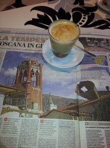 A church loses its steeple. La Nazione newspaper.
