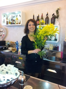 Catarina with mimosa at Caffe Bar Solfarino in Certaldo