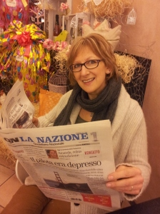 La Cognata at caffe Solferino in Certaldo with giant Easter Eggs. Photo J Finnigan