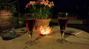 An evening with VinSanto on the upper terrace.  Photo J Finnigan