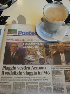 The new Vespa is launched with everyone wearing Armani of course! La Nazione Newspaper