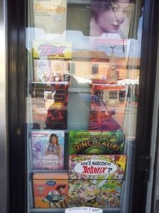My two novels for sale at Milko's Cartolibreria in Fiano. Photo J Finnigan
