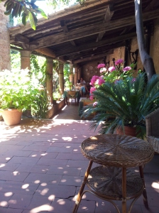 The lovely shady dining terrace at Il Castello in Certaldo Alto. Foto J Finnigan