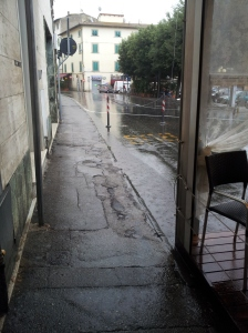 Torrential rain in Certaldo. Photo J Finnigan