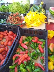 Yummy veg in Certaldo's Saturday morning market. Phot J Finnigan