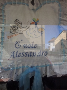Alessandro's cushion in the window of Laurara's Bar. Photo J Finnigan