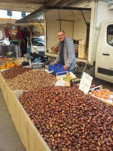 Chestnuts for sale in Certaldo market. Photo J Finnigan