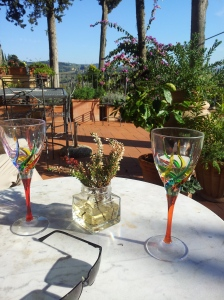 Pre-lunch drinks on the upper terrace. Photo J Finnigan
