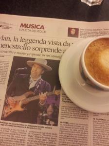 Bob Dylan touring in Tuscany. La Nazione.