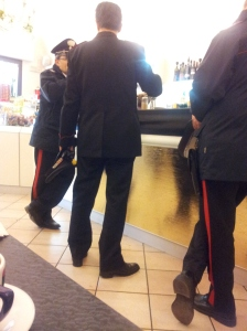 The local police chief and two carabiniere. Photo - unnamed paparasa.