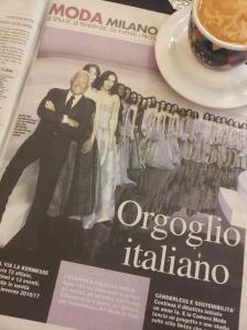 Giorgio Armani with his models, in Milano last week. Il Nazione