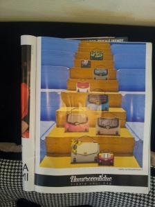 Gorgeous handbags on staircase. Glossy magazine.