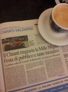 La Mille Miglia and morning coffee. Foto J Finnigan