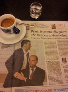 Looking defeated. Matteo Renzi and Angelino Alfano. La Nazione.