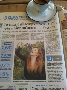 The Vendemmia. This article says that 2,680 litres of Chianti was produced in Tuscany in 2015. This year the production will be higher! La Nazione.