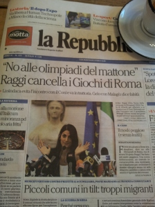 The Mayor of Rome, Virginia Raggi, makes the announcement. La Repubblica.