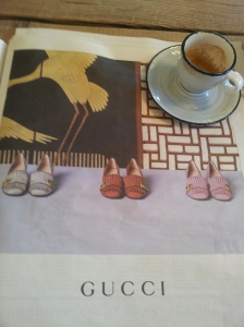 To buy or not to buy these orange Gucci shoes that match my current handbag! La Repubblica
