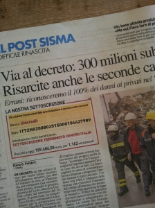 The Earthquake donation details. La Nazione