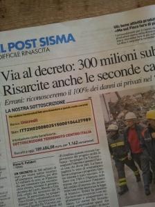 The Earthquake donation details. La Nazione