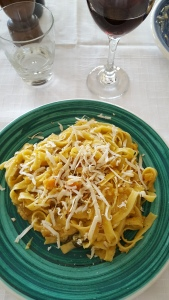 My pasta with pumpkin and sage sauce and smoked ricotta cheese. Foto J Finnigan