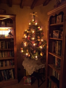 Our littel tree nestling between bookshelves in our big kitchen!